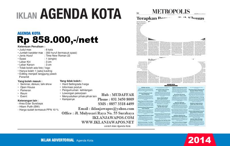 Iklan Agenda Kota Jawa Pos 2014